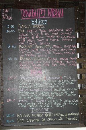 Savaii Lagoon Resort : menu changes daily depending on ingredients