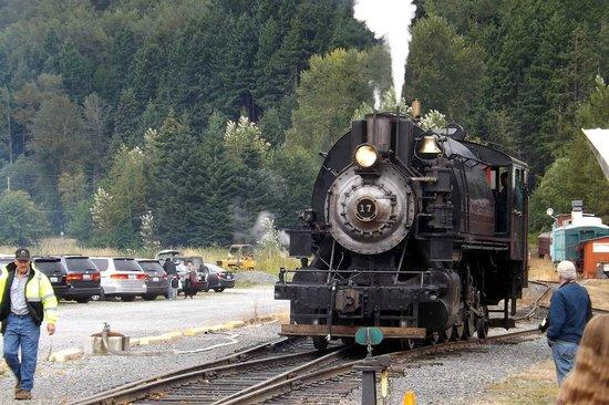 Mt. Rainier Scenic Railroad: Our train heading in to pick up passengers