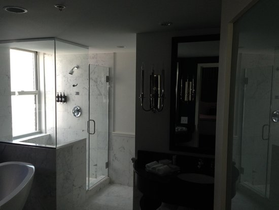 The Kimpton George Hotel: Large size shower includes seating area