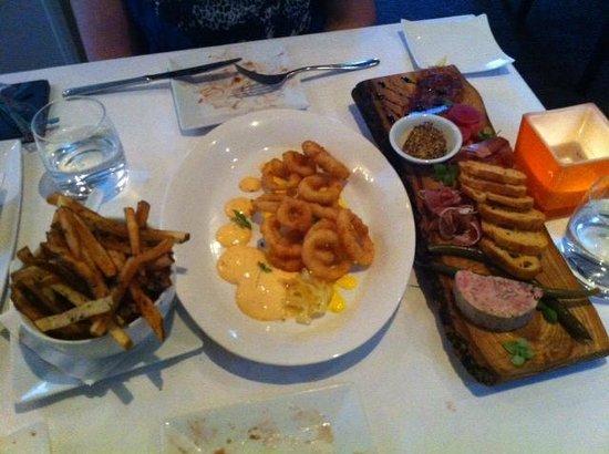 Wellington Court Restaurant + Catering : Frites, calamari, Charcuterie plate