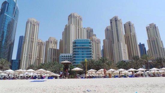 Hilton Dubai Jumeirah Beach : View of hotel and beach from the sea
