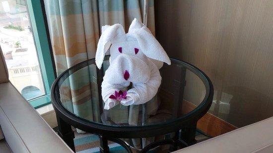 Hilton Dubai Jumeirah Beach : Came back to our room to find this little fella!