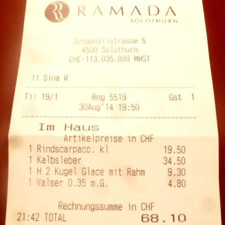 H4 Hotel Solothurn: The bill remained at a moderate level