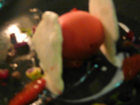 ARIA Restaurant : Blood orange sorbet sandwiched between coconut ice cream wafers
