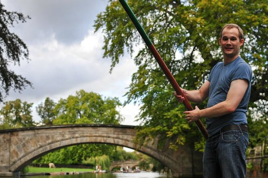 The River Cam: Incredibly brave friend punting!