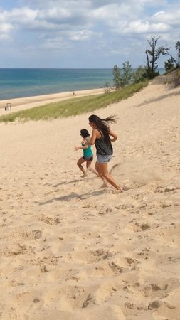 Indiana Dunes State Park: Sister in laws running down the dune