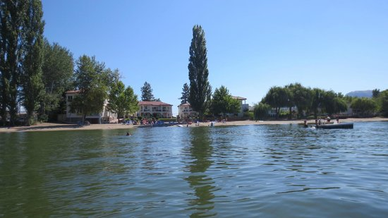Sandy Beach Motel: View from the water--you can wade out forever as lake is shallow