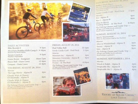 Resort at Squaw Creek : Weekend activities sheet