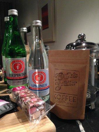 Hepburn at Hepburn: coffee and 'Hepburn' 'Springs' bottled water / sparkling water