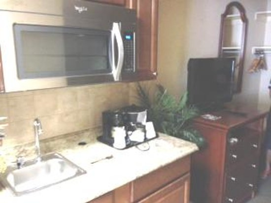 The English Inn of Charlottesville: Sink, TV and microwave in the sitting area of the room