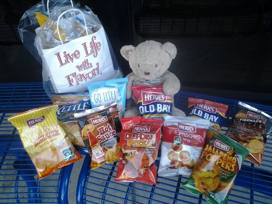 Herr's Snack Factory Tour : Our Teddy with the 10-bag assortment for $3.75...a great deal!