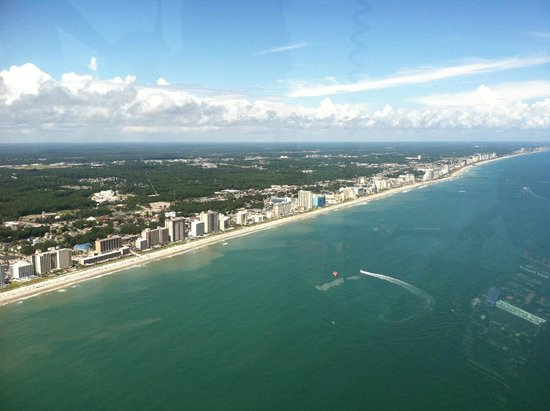 Helicopter Adventures Private Tours: View of Myrtle Beach from backseat of helicopter.
