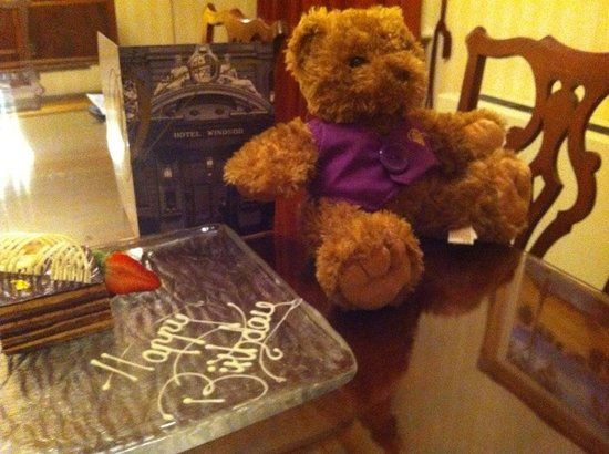 The Hotel Windsor: Beautiful chocolate cake and Harold the Windsor Bear