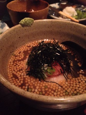 Kokko: Rice ball in broth. Tasty bonito broth.