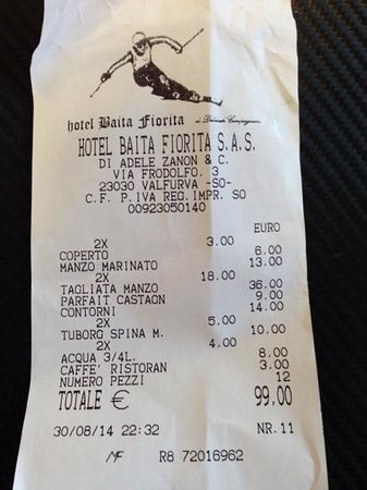 Caffe Bormio presso Hotel Baita Fiorita: il conto