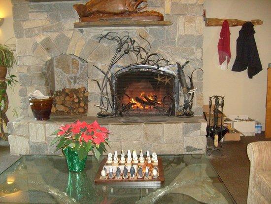 Overleaf Lodge & Spa: Fireplace in lobby