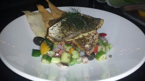 Novotel London Blackfriars : Oregano rubbed red dorade fillet, feta salad, crispy Mediterranean flatbread, micro bronze fenne
