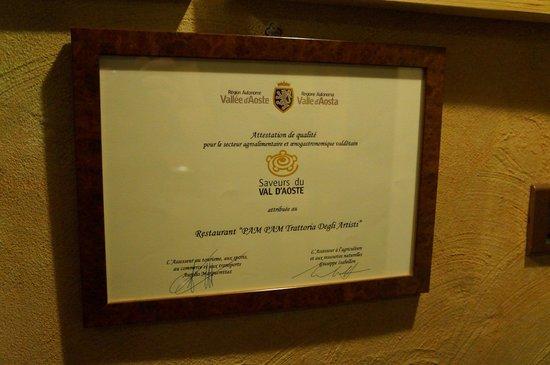 Trattoria degli Artisti: certificate