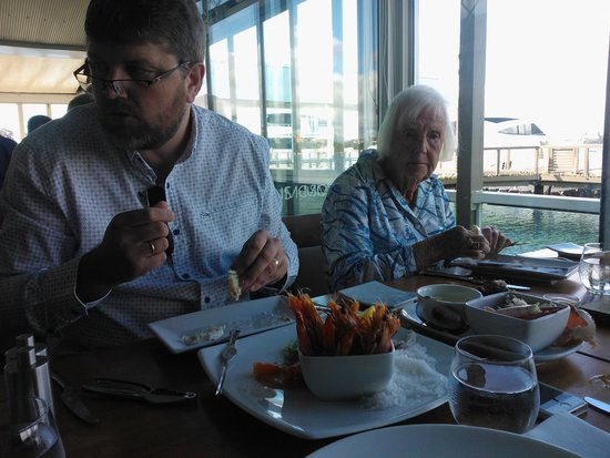 Mosmans Restaurant: My 93 year old Gran enjoying her seafood platter with my husband