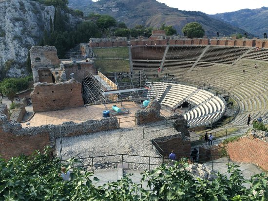 Teatro Greco: With setup for the film festival