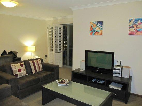 Seashells Scarborough: Living area with Sliding Door to Balcony
