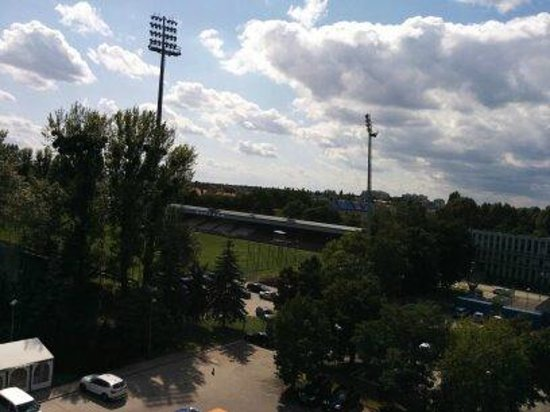 Hotel Slask: Stadium views from our room.