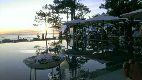 Restaurant La Co(o)rniche : coucher de soleil à la Co(o)rniche - Le Pyla (Arcachon)