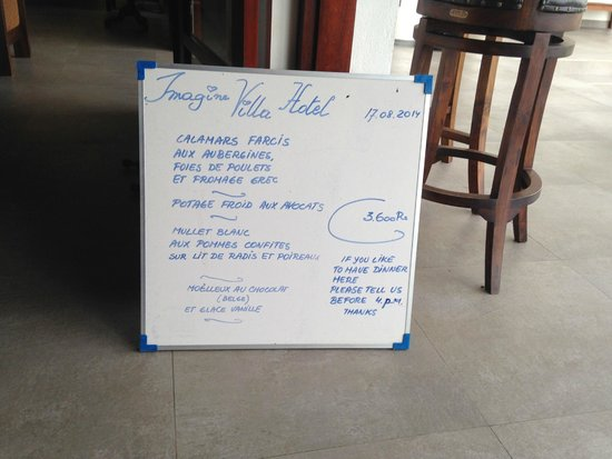 Imagine Villa Hotel: le menu