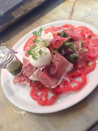 Carpaccio de tomates c ur de b uf burrata et jambon de - Cuisiner le coeur de boeuf ...