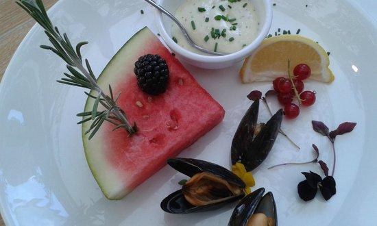 't Pruttelhuus: watermeloen bij mosselen en appelmoes