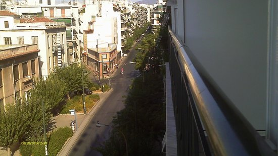 Oscar Hotel : Filadelfias Street (as seen from balcony at the front) not very busy - especially during the nig