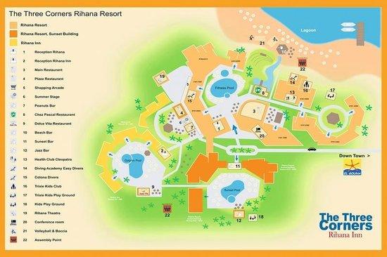 The Hotel Map Picture Of Three Corners Rihana Resort El Gouna - Map of egypt el gouna
