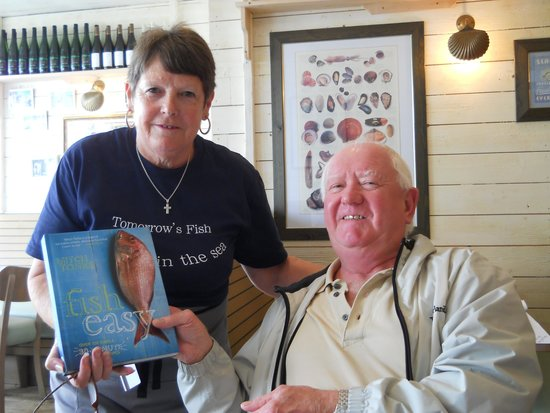 Rockfish Dartmouth: joannie with my husband and my book
