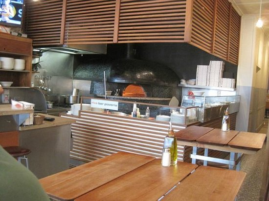 The pizza oven at Riva Bar
