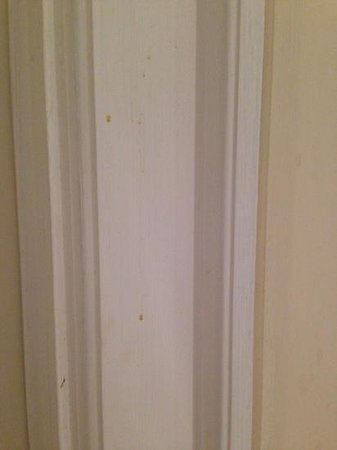 Richmond Gate Hotel: Room 31, dirty door frame and splatter marks in bathroom.