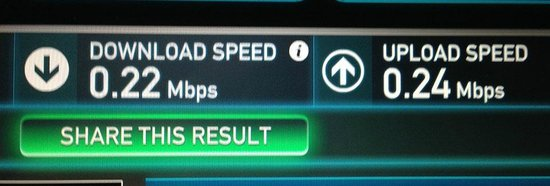 """Quality Suites North IH 35: """"High Speed internet"""" is a joke... this is a speed test I ran,  .22 mbps is ridiculous."""