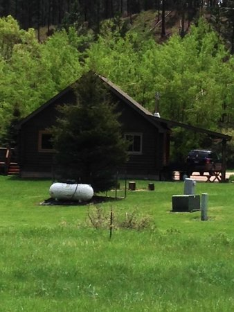High Country Guest Ranch: View of back of cabin when leaving