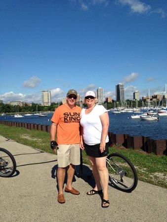 Lakefront Trail: Riding along Lake Michigan in Milwaukee.