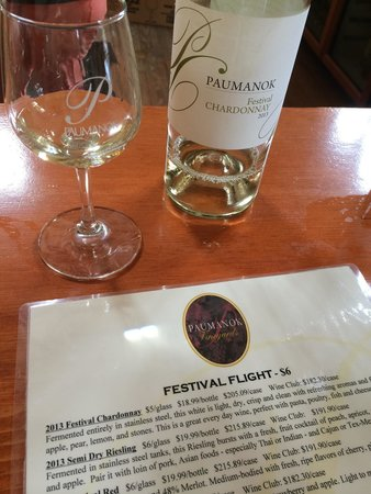Paumanok Vineyards : Wine tasting menu