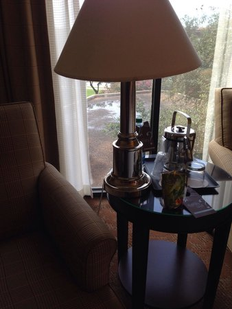 Sheraton Houston Brookhollow Hotel: Tripping over chord knocked this lamp over which I thankfully caught as I was falling. & the $4
