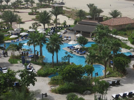 The Ritz-Carlton, Dubai: The pool and beach from our balcony