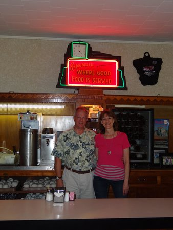 Ariston Cafe: Behind the bar with an original neon sign