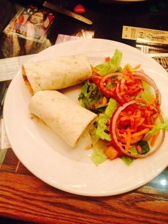 Andre's Seats: thai chicken wrap and house salad