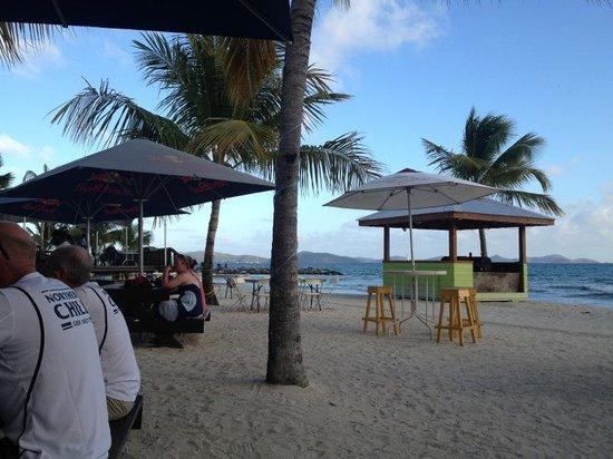 Nanny Cay Marina & Hotel : The beach area with bar.