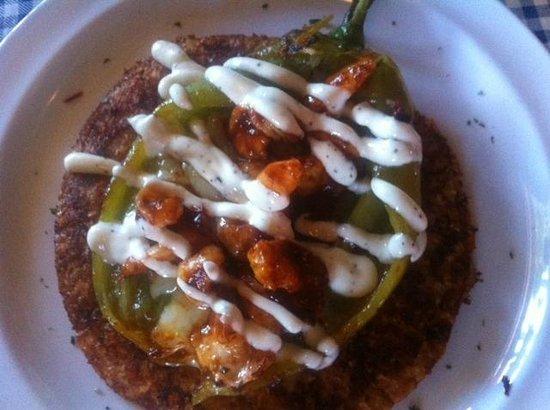 La Corriente Cevicheria Nais: Taco con chile california camarones y crema