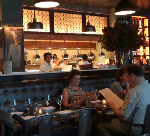 Locanda Verde: Cool interior, open kitchen, great energy