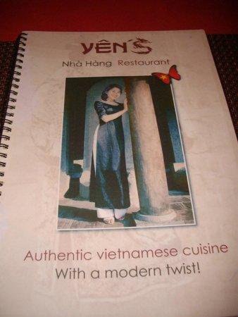 Yen's Restaurant: menu list