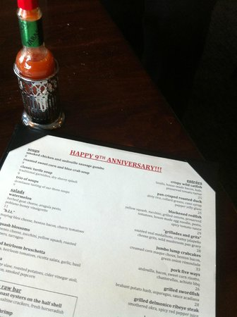 Acadiana: Our anniversary menu