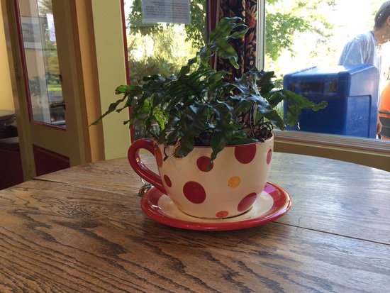 The Local: Cute coffee cup planters on the tables!