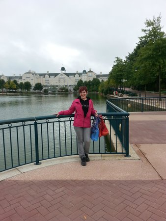 By the lake afte a little shopping in Disney Village